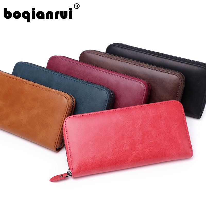 2018 Hot sell Genuine Leather Women Wallet Female Long Zipper Clutch Ladies brand Solid Wallets Fashion Card Coin Purse 2017 special offer party solid new brand charming zipper bag ladies shouder oval 100% genuine leather women clutch durable