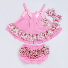YK&Loving Flower Print Girls Swing Top Set Fashion Baby Clothing Sling Ruffle Bloomer and Headband 3pcs/set Hot Kids Clothes