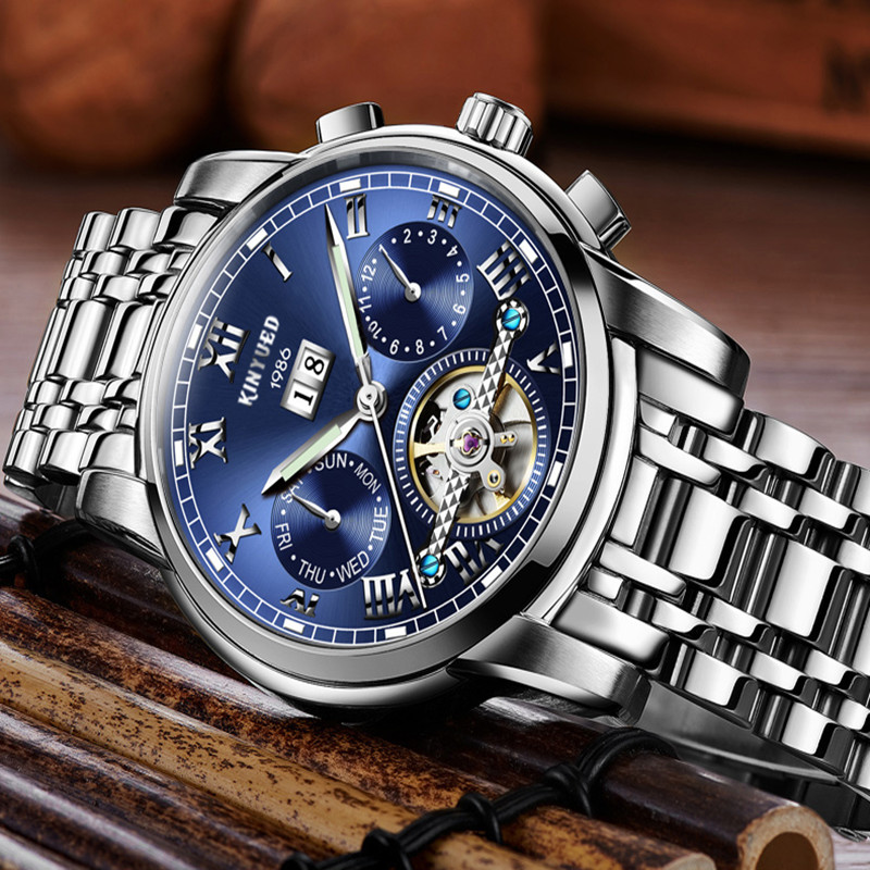 KINYUED Mechanical Watches for Men Luxury Top Brand Mens Business Watch Automatic Mechanical Wristwatch Steel Waterproof Clocks mce sports mens watches top brand luxury genuine leather automatic mechanical men watch classic male clocks high quality watch