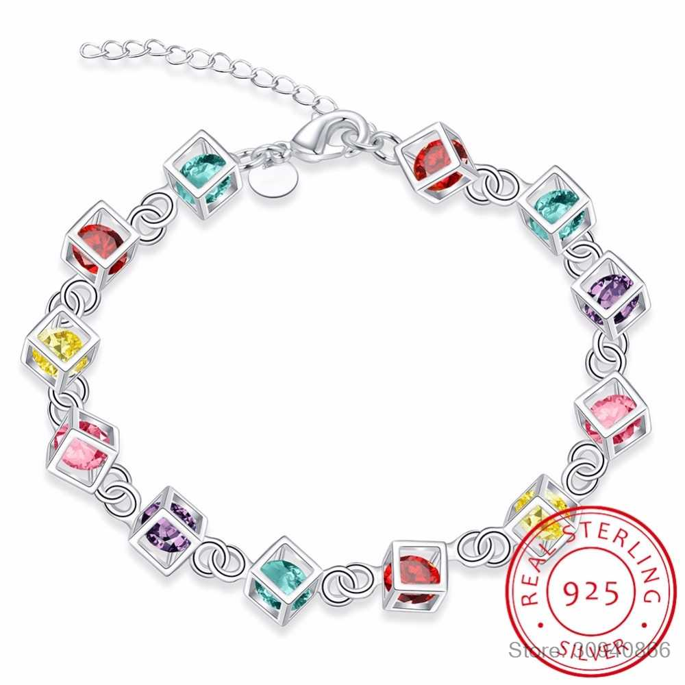 LEKANI Hot Sale Shiny CZ Crystal Happiness Cube 925 Sterling Silver Woman Girl Bracelet Multicolored Cube Rainbow Fine Jewelry