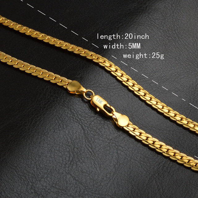 Classic Yellow Gold Color Chain For Men Necklace Fashion Jewelry Wholesale 5 MM Width 50CM Long Snake Chain Necklace 2