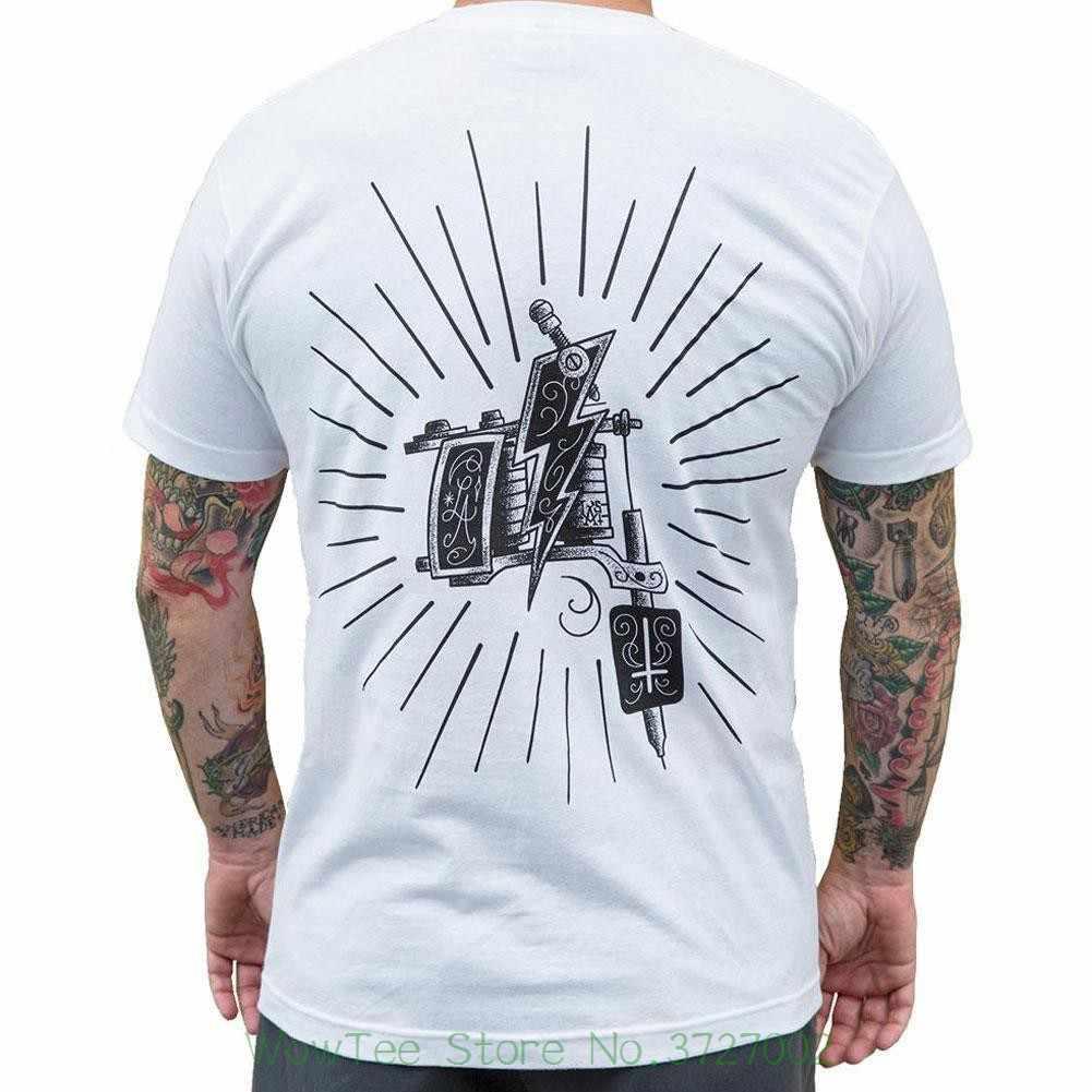 7bfaa3f7 Machine By Lucky Aki Men's White Tee Shirt Tattoo Art Gun Streetwear Clothing  T Shirt Funny