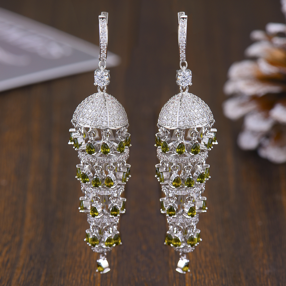 Image 3 - GODKI Luxury Trendy Long Tassel Rain Drop Dangle Earrings for 