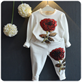 Girls Clothing Sets 2016 Autumn Wool Sportswear Long Sleeve Roses Embroidered Sequinsets Kids Clothes Sets Girls sport suit