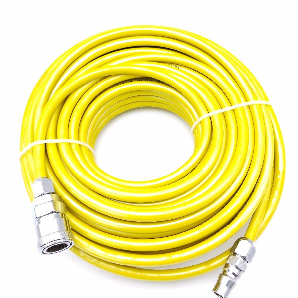 8mm x 5mm Yellow/Red/Transparent PU Straight Pneumatic Hoses Air Compression Tube 10m / 15m / 20m with Quick Metal Joints
