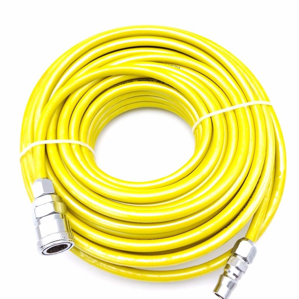8mm x 5mm amarillo PU neumático recto mangueras de aire compresión tubo 10 M/15 M/20 M con rápida articulaciones de Metal