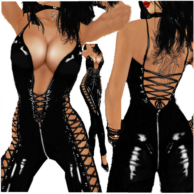Women <font><b>Sexy</b></font> <font><b>Lingerie</b></font> <font><b>Latex</b></font> Catsuit Costume <font><b>Lingerie</b></font> <font><b>Sexy</b></font> Hot <font><b>Erotic</b></font> Costumes Lady Hollow PVC Leather Bodysuit Black Jumpsuit 2018 image