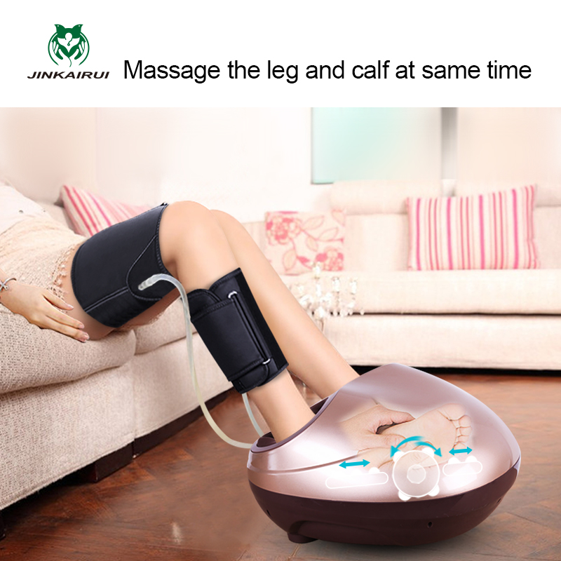 JinKaiRui Electric Health Care Antistress Muscle Release Therapy Roller Shiatsu Gua Sha Heat Foot Massager Machine Device