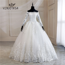 로브 드 Mariee 그란데 Taille 새로운 웨딩 드레스 레이스 보트 목 어깨 공 가운 공주 플러스 크기 빈티지 신부 35