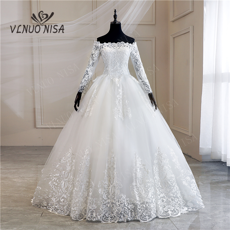 Robe De Mariee Grande Taille New Wedding Dress Lace Boat Neck Off The Shoulder Ball Gown Princess Plus Size Vintage Brides 35