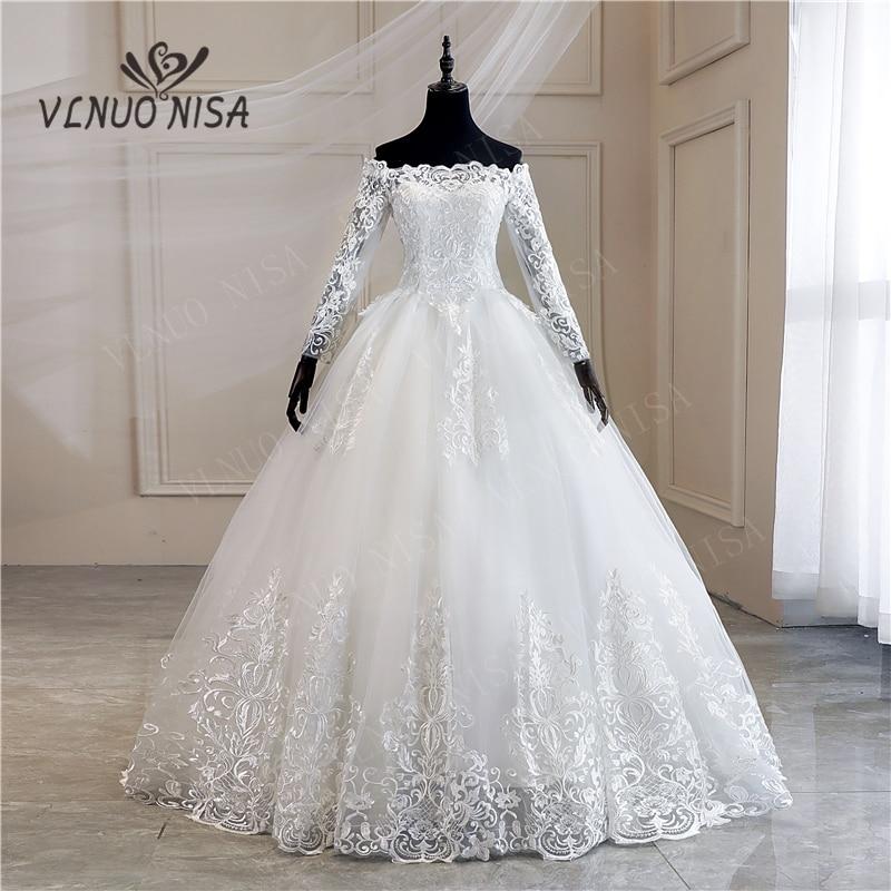 Robe De Mariee Grande Taille New Wedding Dress Lace Boat Neck Off The Shoulder Ball Gown Princess Plus Size Vintage Brides 35