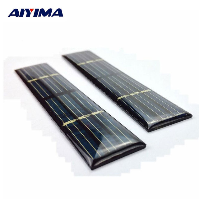 AIYIMA 10pcs Epoxy Solar Panel 3V 50mA 0.15W solar cell panels Polycrystalline solar cells For DIY charger 107*20*2.8mm
