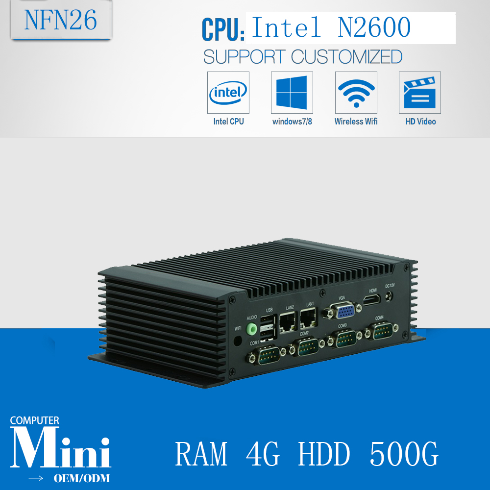 Industrial Computer Industrial Fanless Mini Pc High Quality Mini Box Pc Inter Atom N2600 1.6Ghz RAM 4G HDD 500G