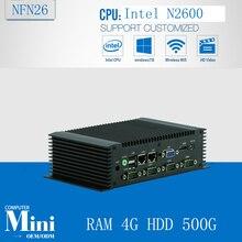 industrial computer industrial fanless mini pc high quality mini box pc Inter Atom N2600 1.6Ghz RAM 4G HDD 500G