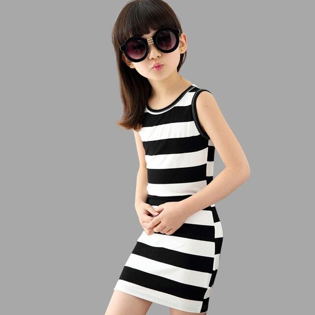 69c843937 Summer Girls Dresses Striped Kids Clothing Sleeveless Party Dress Girls  Beach Dresses Teenage Kids Girls Clothes 6 8 10 12 14