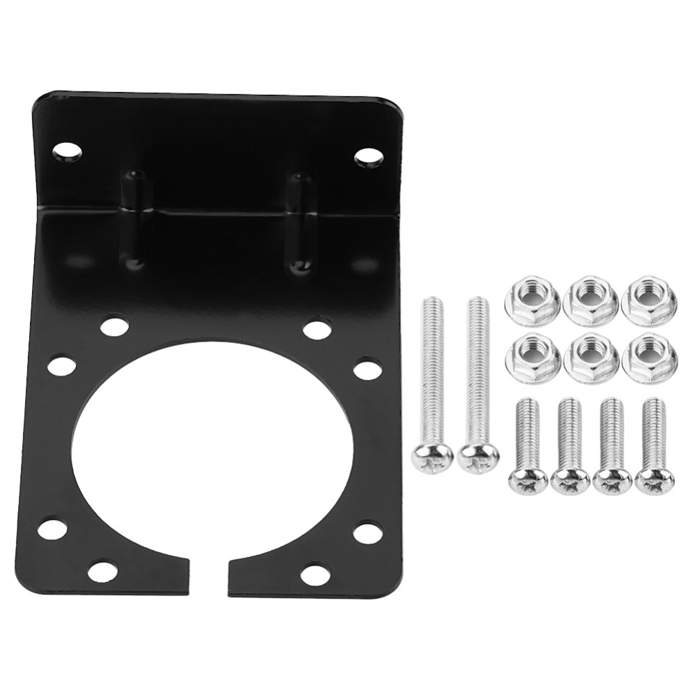 Black Metal Mounting Bracket Holder For 7 Pin Caravan Towing Trailer Connector Plug Socket Comes With Complete Screws And Nuts