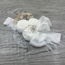 1pcs/lot Triple Febric Rose Flower Headband With Rhinestone Pearl Lace Bow Feather Baby