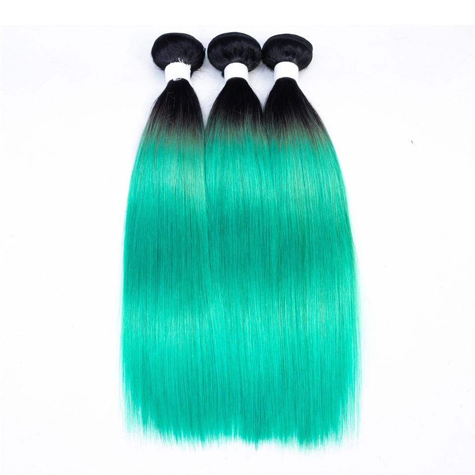 Straight 1B Mint Green Ombre Brazilian Remy Human Hair Extensions 2 Tone Light Green Hair Weave 3 Bundles Hair OT Emerald Green