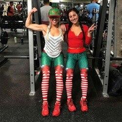 2018 New Hot Christmas Printed Leggings Sexy Clubwear Skinny Slim Red Striped Bow Women Leggings 2