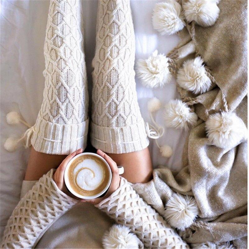 Женские зимние вязаные хлопковые чулки, теплые чулки выше колена, модные вязаные крючком носки