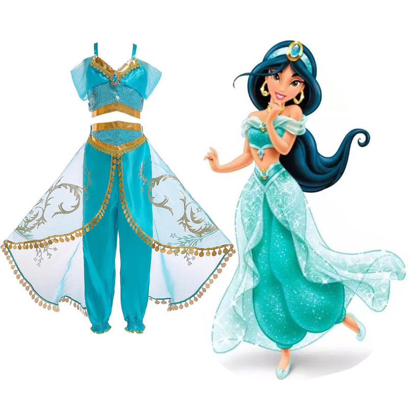 Cosplay Jasmine Princess Dress Aladdin Halloween Christmas Children's Party Costume Women's Dress Two-piece