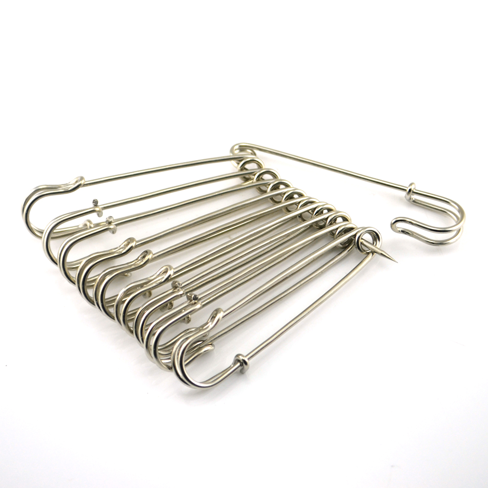 CN-QJH Store 10 Pcs 4 Inch Large Nickel plated Silver Metal Safety Pins Sewing Art Crafts Home Hand Sewing Needle