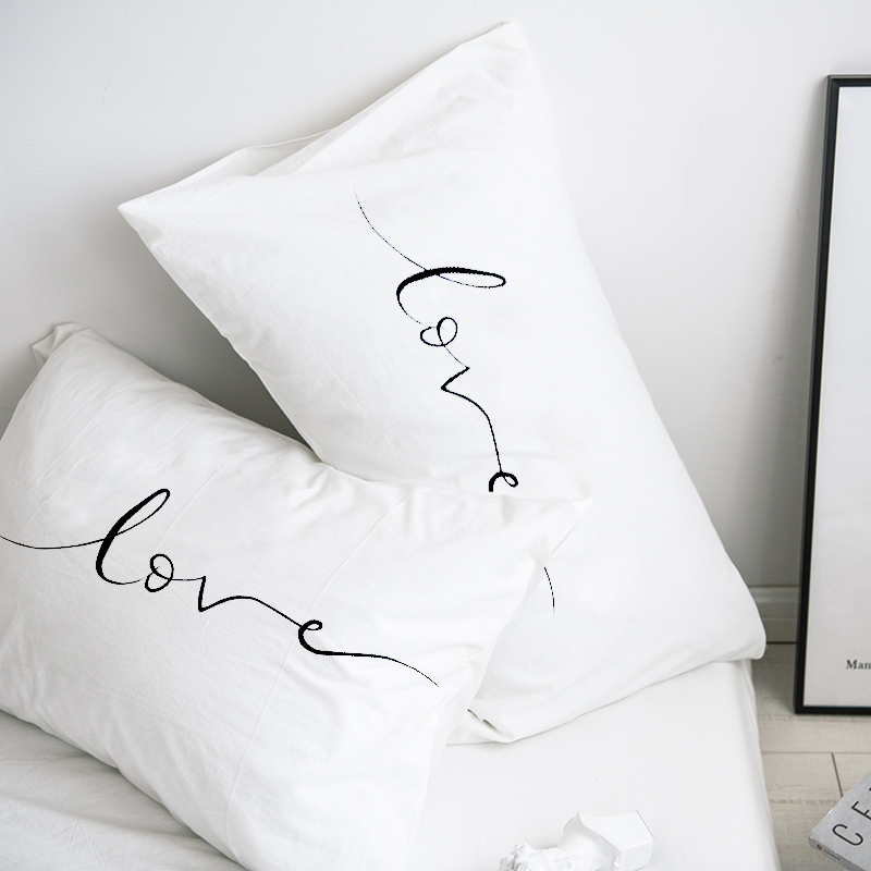Custom Pillow Case Pillowcase 50x70 50x75 50x80 70x70 Decorative Pillow Cover White Love Bedding Drop Shipping