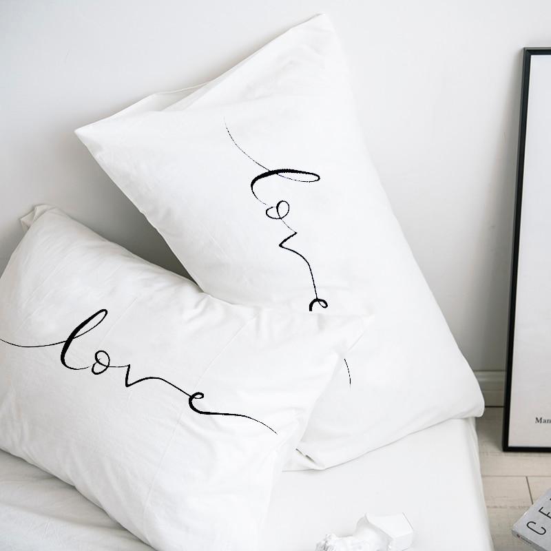 Custom Pillow Case Pillowcase 50x70 50x75 50x80 70x70 Decorative Pillow Cover White Love Bedding Drop Shipping