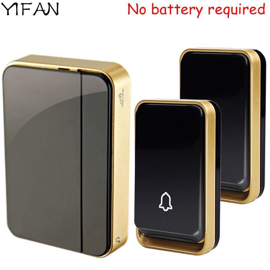 YIFAN self powered Waterproof Wireless Doorbell NO battery need 150M range EU Plug 110-220V smart Door Bell 2 button 1 receiver