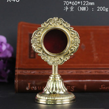 High Quality Brass Reliquary Good Catholic Holy box with glass monstrance Exquisite