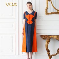 VOA Silk Jacquard Party Dresses V Neck Long Dress Plus Size 5XL Vintage Elegant High Waist
