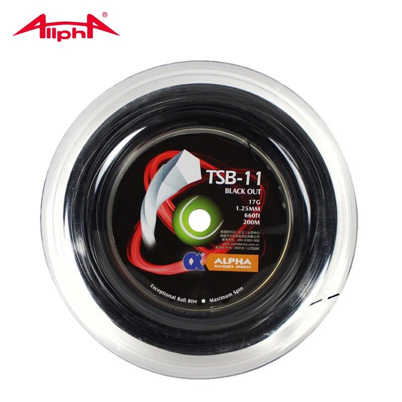 Alpha BLACK OUT 1.25mm pentagone raquette de Tennis Spin String 200 m bobine Polyester Controll excellente ficelle fabriquée en allemagne TSB-11