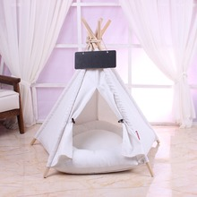 5-angle pole pet tent with cushioned kennel comfortable cotton dog bed for easy cleaning and carrying