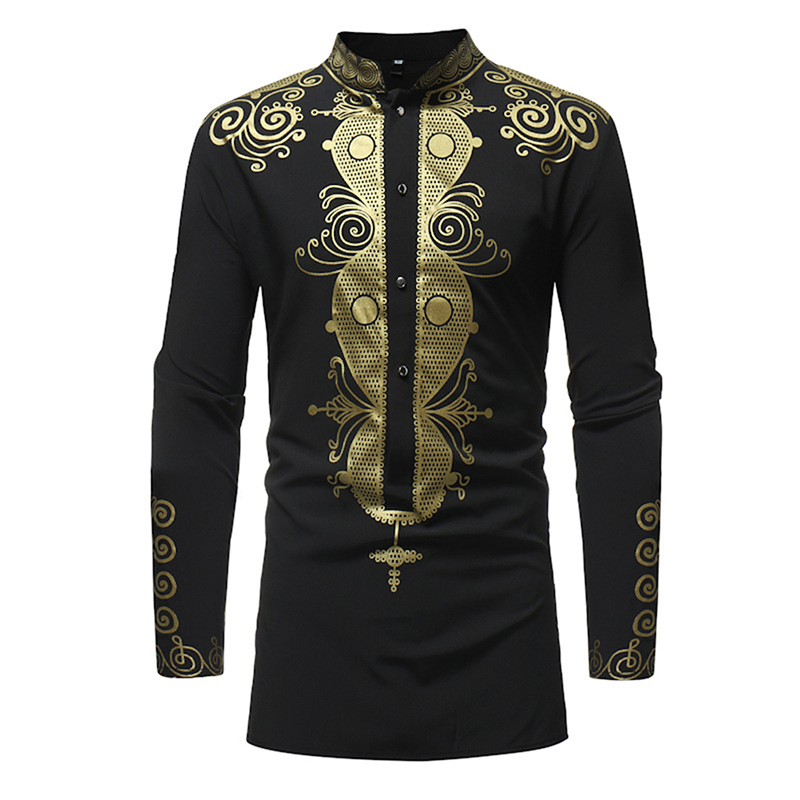 New Autumn Camisa Masculina Casual Male Shirts Vintage African Ethnic Print Long Sleeve Stand Collar Shirts Tops For Men