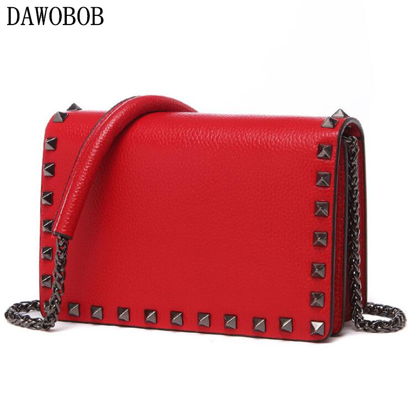 DAWOBOB 2018 Genuine Leather Women Rivet Messenger Bag Ladies Crossbody Bag Chain Trendy Candy Color Small Flap Shopping Handbag rdywbu candy color rivet chain shoulder bag women new pearl pu leather flap handbag girls fashion crossbody messenger bag b430