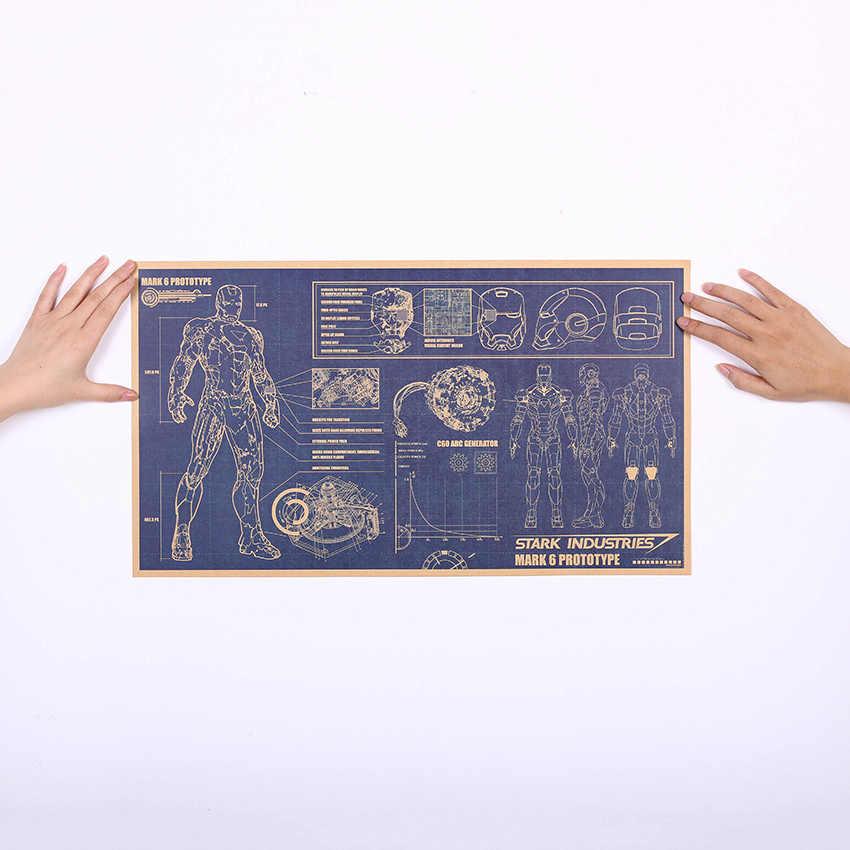1 Uds. Iron Man diseño dibujos nostálgico Retro papel Kraft cartel de pintura decorativa decoración para el hogar etiqueta engomada de la pared