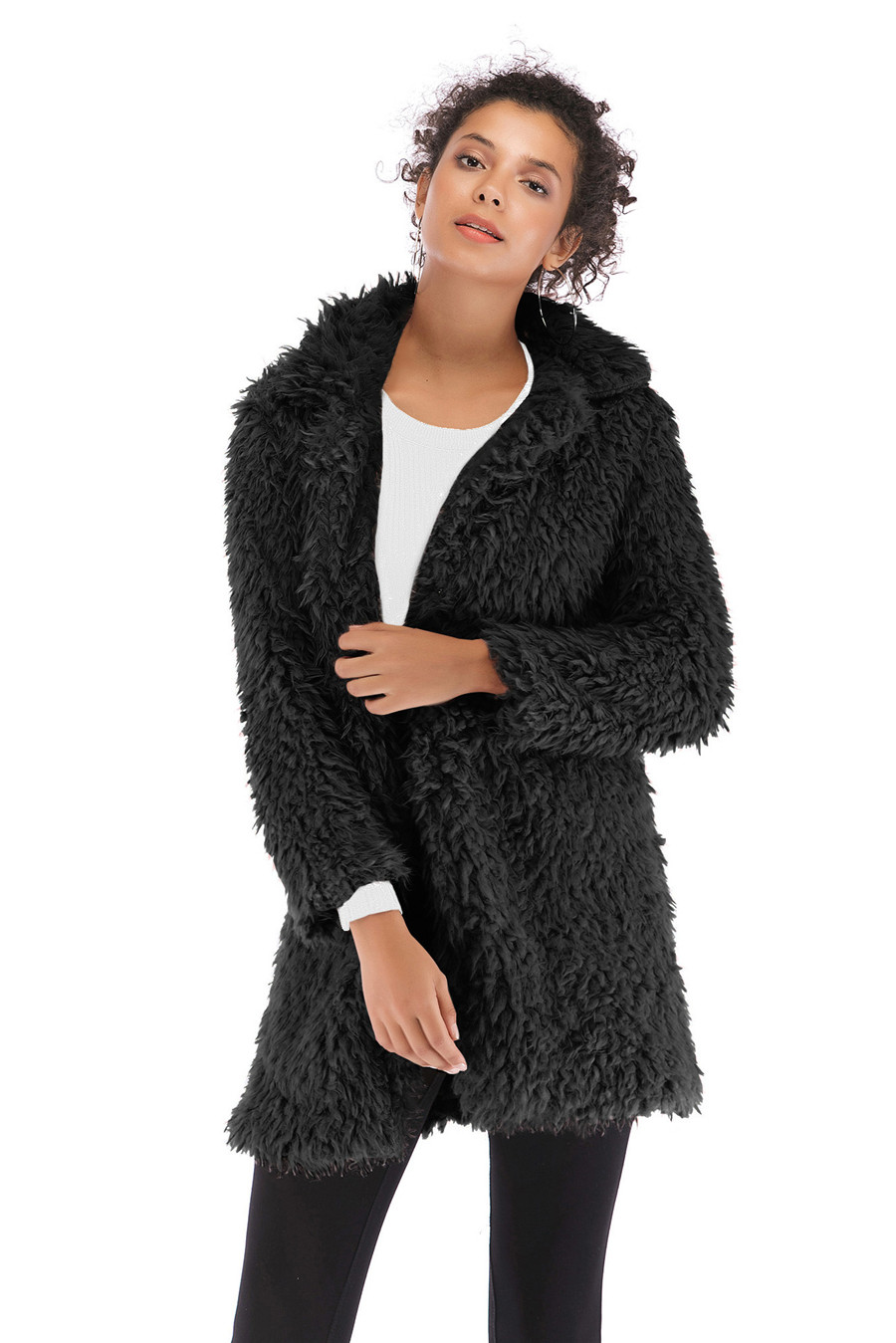 Gladiolus 2018 Women Autumn Winter Coat Turn-Down Collar Long Sleeve Covered Button Long Warm Shaggy Faux Fur Coat Women Jackets (22)