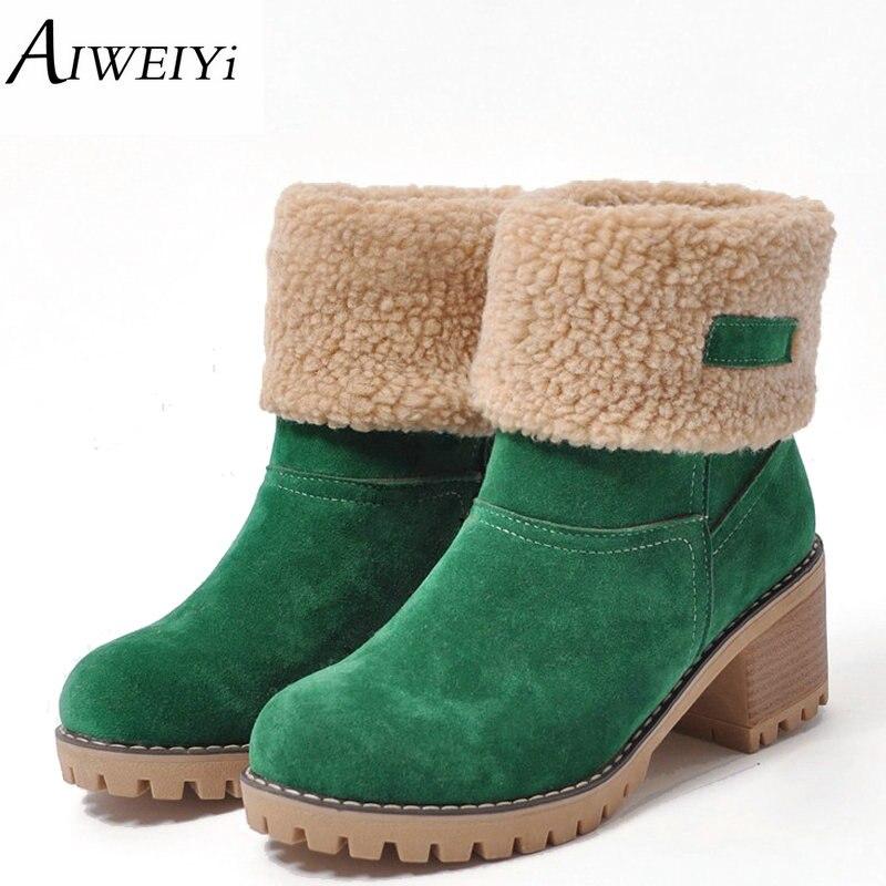 AIWEIYi Marque Femmes Bottes Femme Chaussures D'hiver Femme Fourrure Chaud neige Bottes De Mode Carré Haute Talons Cheville Bottes Noir Vert bottes