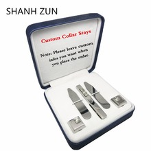 SHANH ZUN Personalized Stainless Steel Collar Stays & Cufflinks & Tie Clip Set Holiday Gift for Dad Men Husband