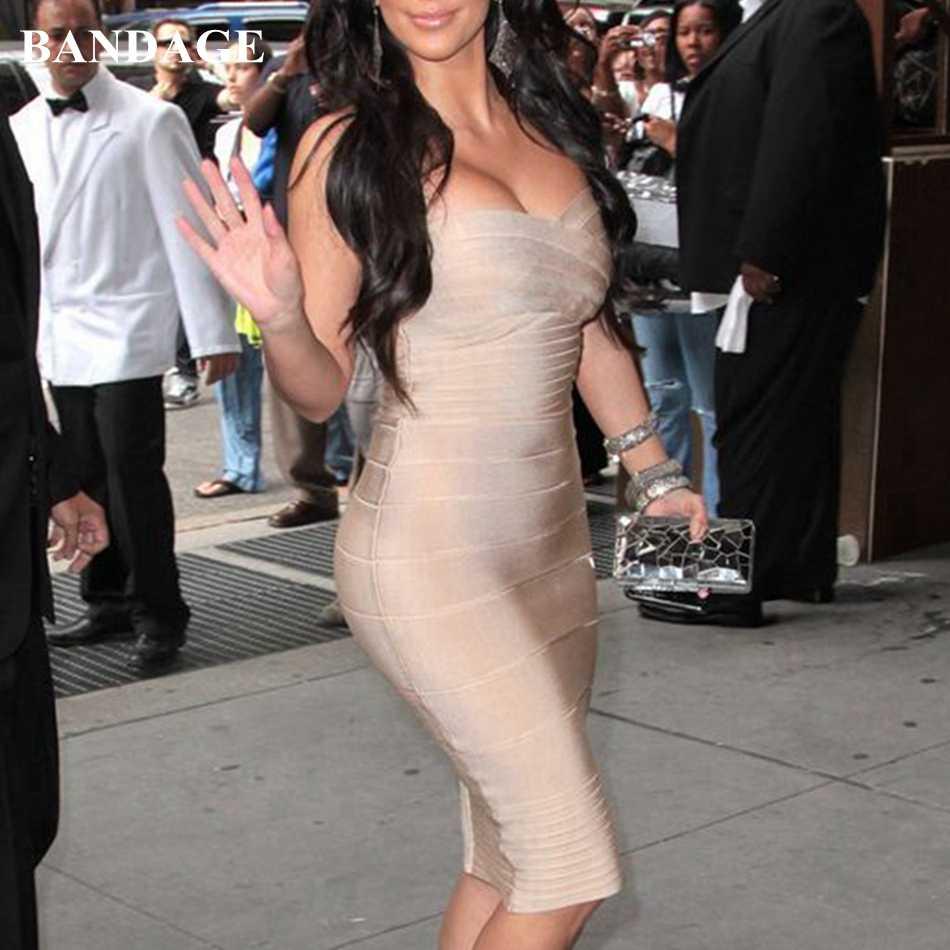 Модные дизайна Kim Kardashian сонцезащитные очки без бретелек Бандажное Платье облегающее платье красного и бежевого цветов узкое платье с открытыми плечами, соблазнительные, элитные, выходные платье FH0005