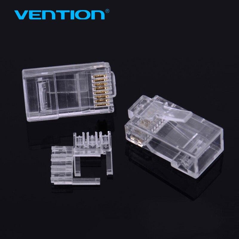Vention Gold Plated Connectors 8P8C UTP LAN Ethernet RJ45 CAT6e Plug 8p8c rj45 modular plug for network cat6 10pcs/lot