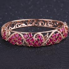 Robira Fashion Love Bangles And Bracelets For Women Top Quality Ruby Red Bangle Feminina 18K Rose Gold Bracelet Femme Jewelry