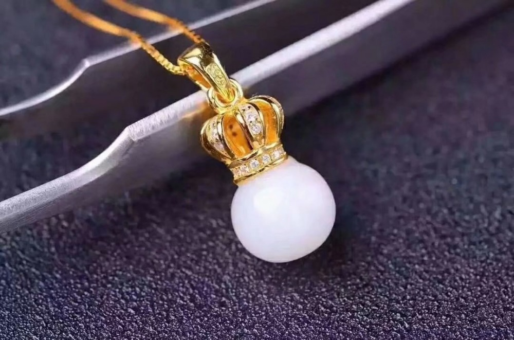 SHILOVEM 925 silver natural White Jade pendants crown send necklace classic wholesale Fine women gift tf080801aghby