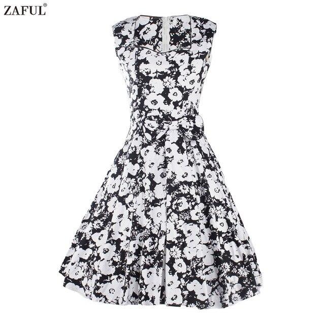 Zaful новый черно-белой печати vintage summer dress женщины без рукавов рокабилли халат ретро платья 50 s feminino vestidos плюс размер