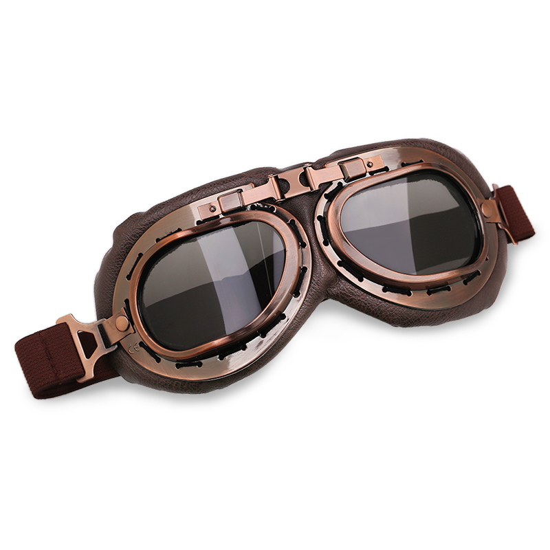 Vintage Pilot Goggles Motorcycle Motocross Goggles Helmets Glasses WWII Aviator Goggles Retro Lens For Harley Scooter 6 Colors