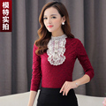 Plus Size 2015 Women Shirts Ruffles Slim Full Sleeve Lace Stand Neck Blouse Shirt Black Wine Red 862