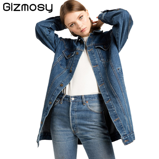 77a82df7d8b8 Solid Jeans Coats Women Long Sleeve Female Single Button Coat Street Style  Slim Denim Ladies Casual