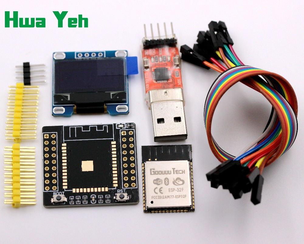 ESP32F Suite ESP-32F Module+ESP32 Adapter Board+CP2102 Module+0.96 Inch OLED Yellow- Blue+20CM Dupont Line  For Arduino