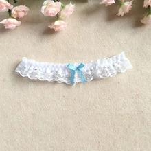 women girl princess cosplay wedding party bridal lace floral blue leg ring loop stocking garter belt