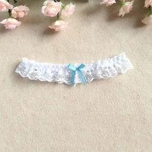 eb787cd0f3 Venta al por mayor de mujeres niña princesa Cosplay boda fiesta nupcial  encaje Floral azul pierna anillo lazo media Liga cinturó.